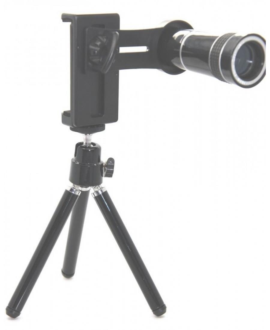 Комплект объектив 10x + штатив для смартфонов. Черный цвет