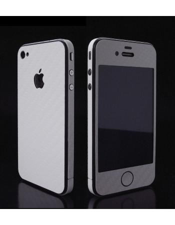 Карбоновая наклейка для Iphone 4. Белый цвет