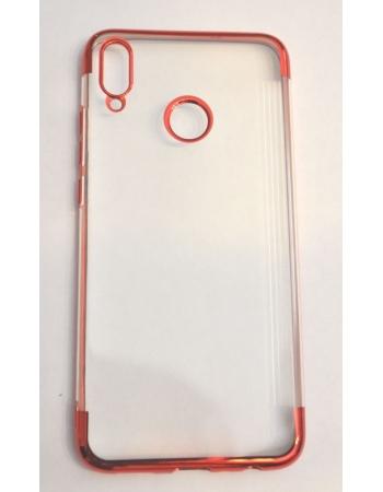 Чехол Honor 8x силиконовый. Прозрачный+красный цвет