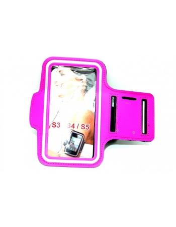 Спортивный чехол на руку для Samsung Galaxy S5. Ярко розовый цвет