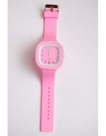 Часы наручные с силиконовым браслетом. Розовый цвет