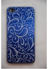 Крышка (панель) для Iphone 4. Металл, синий цвет