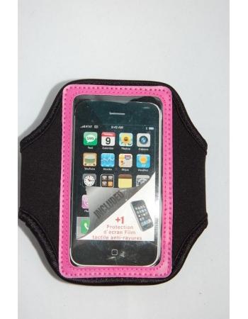 Спортивный чехол для Iphone 4/4s. Черный+розовый цвет