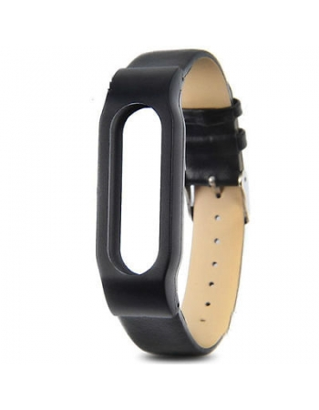Кожаный браслет для Xiaomi Mi Band. Черный цвет