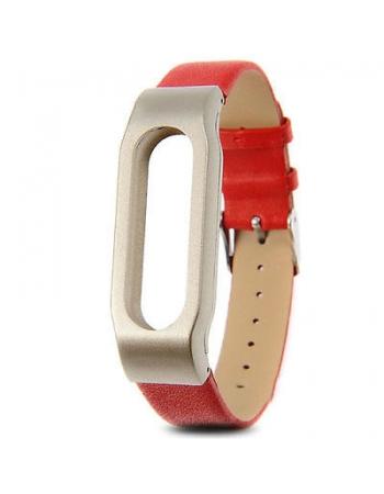 Кожаный браслет для Xiaomi Mi Band. Красный цвет