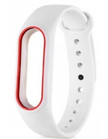Ремешок для браслета Xiaomi Mi band 3. Белый с красным