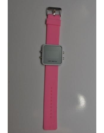 Светодиодные зеркальные часы, розовый цвет