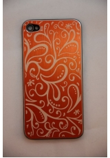Крышка (панель) для Iphone 4. Металл, оранжевый цвет