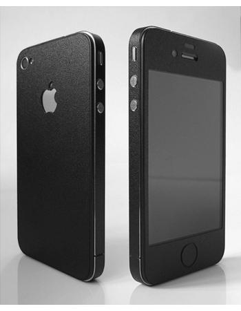 Карбоновая наклейка для Iphone 4. Черный матовый. FULL