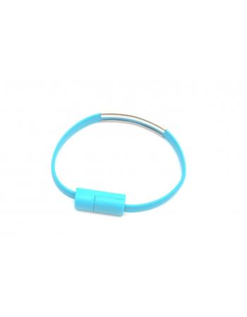 Кабель-браслет apple iphone lightning. Голубой цвет