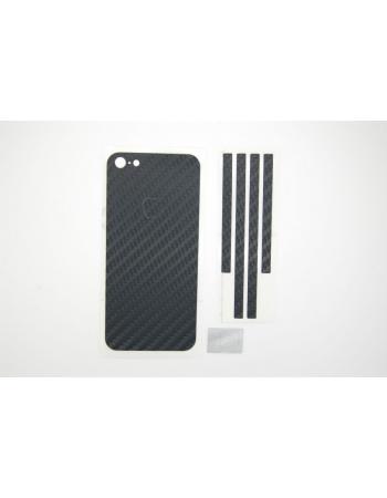 Карбоновая наклейка Iphone 5/5s. Черный цвет. Комплект крышка+бампер