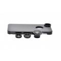 Комплект объективов 3 в 1 + чехол для Iphone 5/5s. Черный цвет