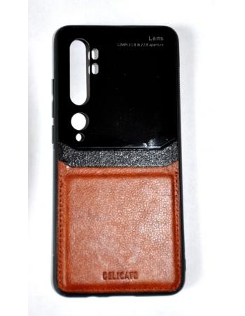 Чехол Fashion Case Mi note 10/10 Pro. Черный/коричневый цвет
