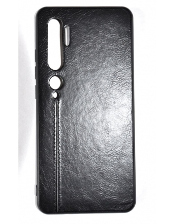 Чехол Xiaomi Mi note 10/10 pro кожа. Черный цвет