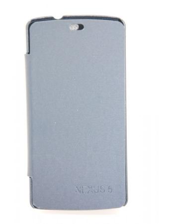 Кожаный чехол LG Nexus 5 Flip case. Синий цвет