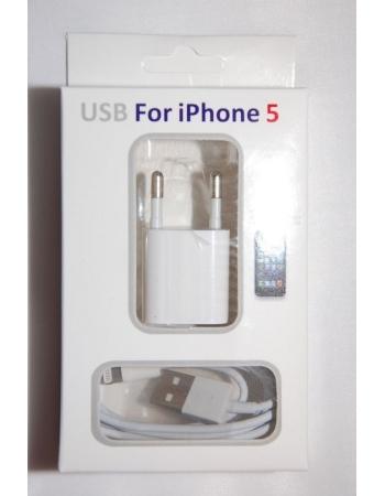 Комплект зарядных устройств Iphone 5 (2 в 1). Евро