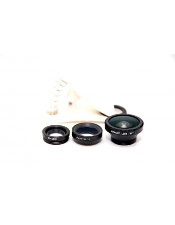 Комплект объективов 3 в 1: рыбий глаз+макро+широкоугольный. Черный цвет