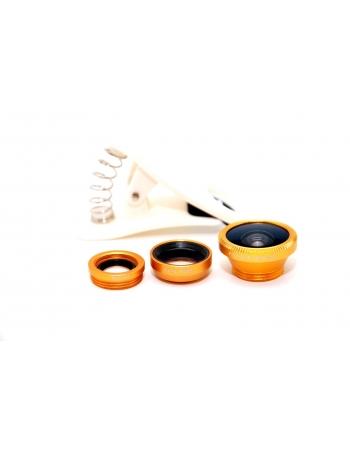 Комплект объективов 3 в 1: рыбий глаз+макро+широкоугольный. Золотой цвет