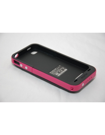 Чехол-аккумулятор для Iphone 4/4s Mophie Juice Pack. Черный/розовый цвет