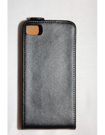 Чехол Blackberry Z10, Flip, натуральная кожа. Черный цвет