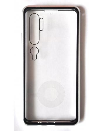 Магнитный чехол для xiaomi mi note 10/10 pro. Серебристый цвет