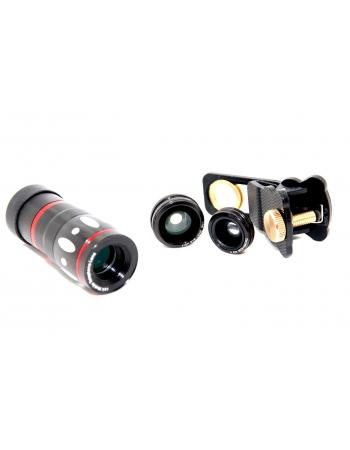 Комплект объективов 10х+macro+fish eye+wide для смартфонов. Черный цвет