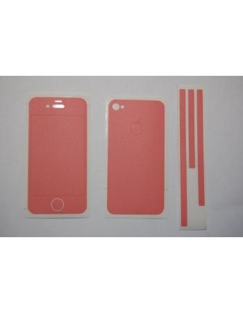Карбоновая наклейка Iphone 4. Розовый (матовый) цвет