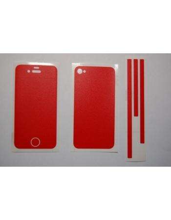 Карбоновая наклейка Iphone 4. Красный (матовый) цвет