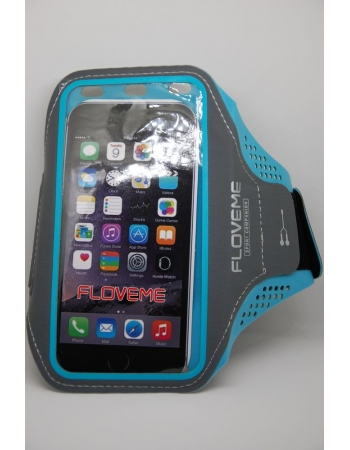 Спортивный чехол для iPhone 5 5S SE 6 6S 7 8 X на руку Floveme. Голубой цвет