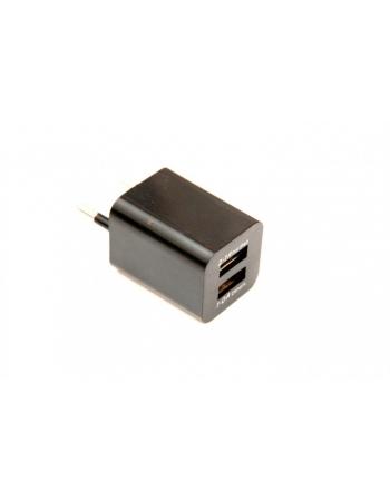 Сетевое зарядное устройство mini для Ipad 2.1A 2хUSB. Черный цвет