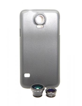 Комплект объективов 3 в 1 + чехол Samsung Galaxy S5. Черный цвет