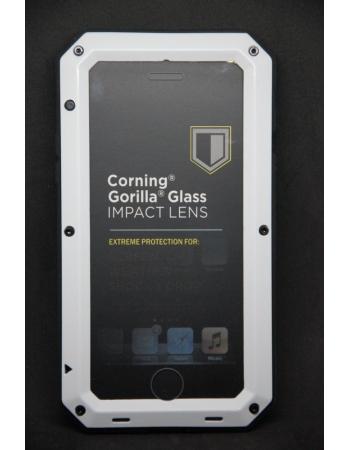 Металлический защищенный чехол Iphone 8 Gorilla Glass. Белый цвет
