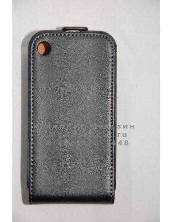 Чехол flip для Iphone 3G/3Gs. Натуральная кожа. Черный цвет