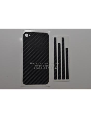 Карбоновая наклейка Iphone 4s. Черный цвет