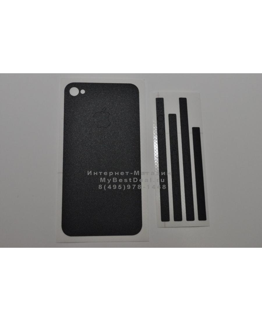 Карбоновая наклейка Iphone 4s. Черный цвет (матовый)