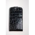 Кожаный чехол Samsung Galaxy S3. Croco. Черный цвет