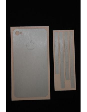 Карбоновая наклейка Iphone 4s. Серебристый матовый цвет