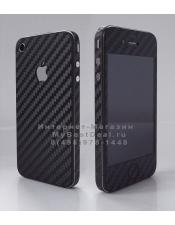Карбоновая наклейка для Iphone 4. Черный цвет. Full