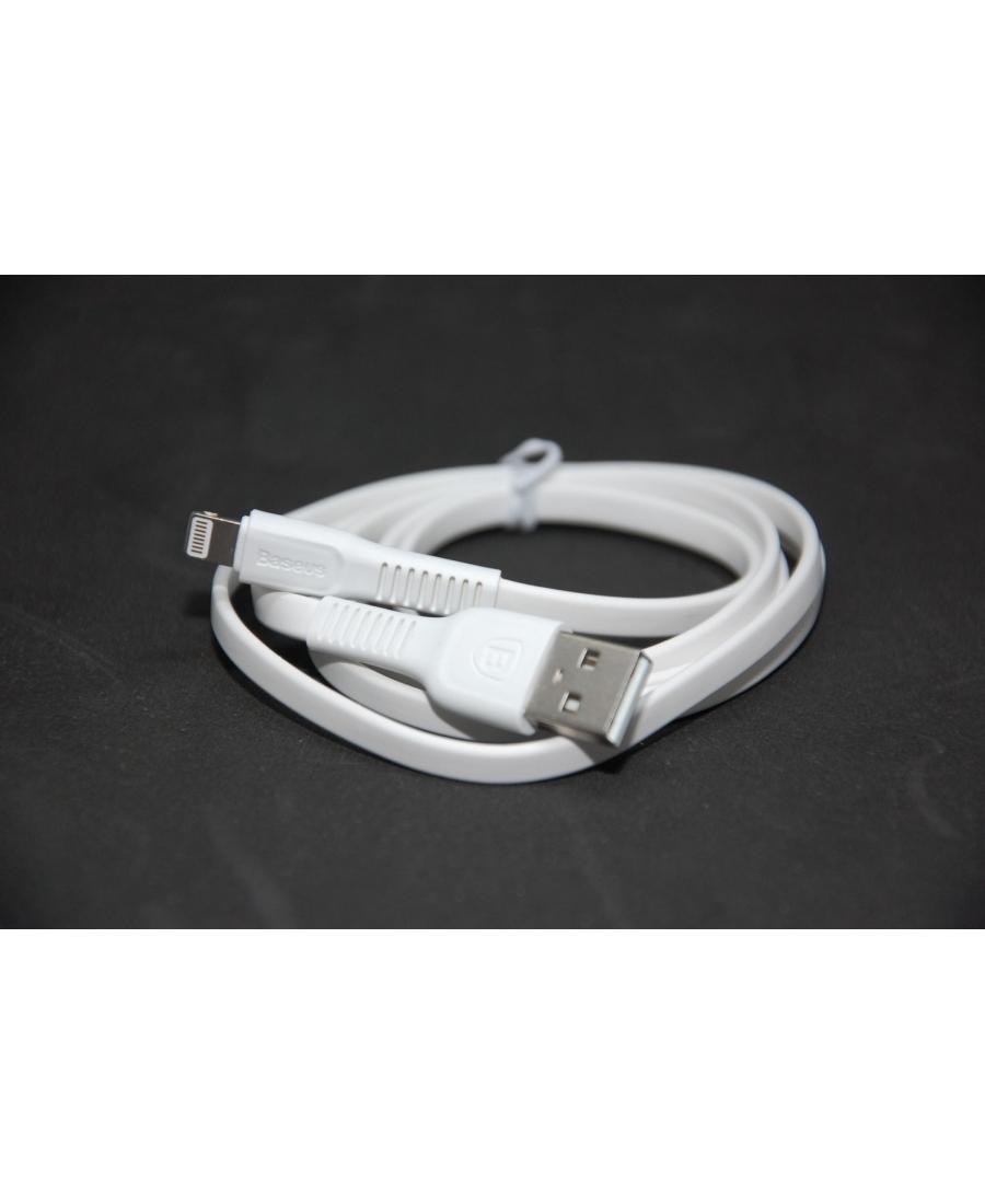 Плоский кабель iphone 5/6/7/8 пр-во Baseus, 1 метр, оригинал. Белый цвет