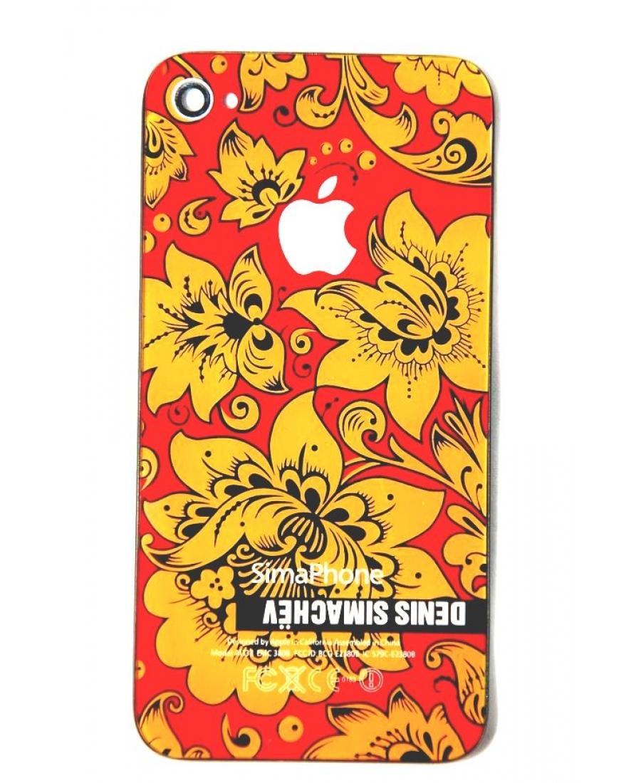 Крышка Iphone 4 Simachev. Желтый/красный цвет