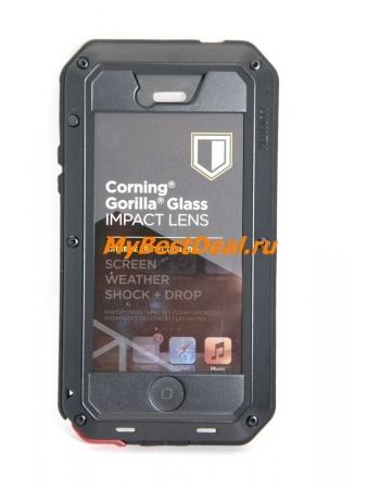 Металлический чехол Iphone 5/5s Taktik extreme+ Gorilla Glass. Черный цвет