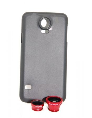 Комплект объективов (красный цвет) 3 в 1 + чехол (черный цвет) Samsung Galaxy S5
