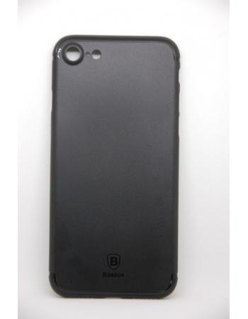 Тонкий чехол Iphone 7. бренд Baseus. Черный матовый цвет