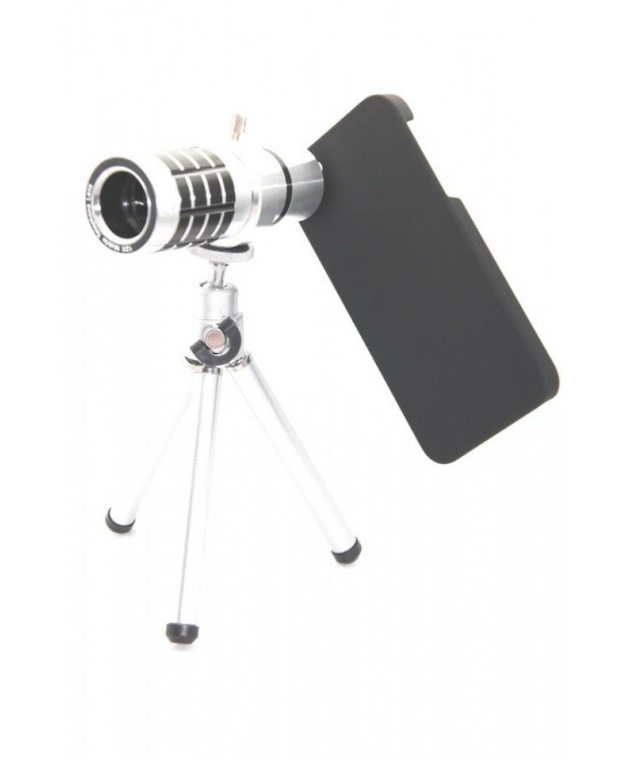 Комплект объектив 12х Iphone 5/5s + штатив + чехол. Серебристый цвет
