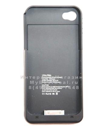 Чехол-аккумулятор для Iphone 4/4s, 1900 Mah, черный цвет