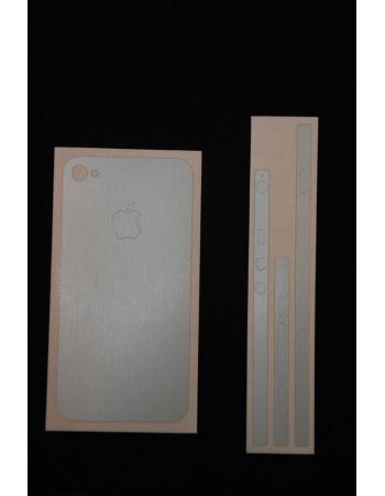 Карбоновая наклейка Iphone 4. Серебристый матовый цвет