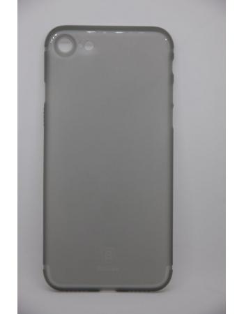 Тонкий чехол Iphone 7. бренд Baseus. Серый матовый цвет
