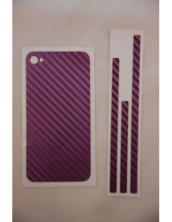 Карбоновая наклейка Iphone 4. Фиолетовый цвет