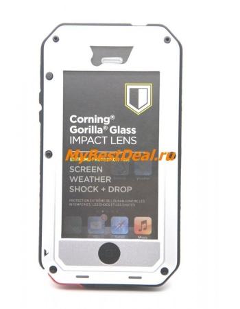 Металлический чехол Iphone 5/5s Taktik extreme+ Gorilla Glass. Серебристый цвет
