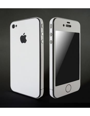 Карбоновая наклейка для Iphone 4. Белый матовый.